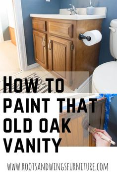 Tired of that builder grade oak vanity?? Paint bathroom cabinets to completely transform the look! In just a couple of hours and with a little paint it can look completely different! Post includes full video tutorial.  #rootsandwingsfurniture#paintbathroomcabinet #chalkpaintcabinets