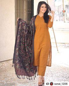 Best 12 silk kameez punjabi patiala salwar party wear indian pakistani stitched suit M L Kurta Designs Women, Salwar Designs, Kurti Neck Designs, Blouse Designs, Dress Indian Style, Indian Dresses, Indian Outfits, Pakistani Dresses Casual, Pakistani Dress Design