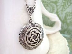 THE ETERNAL KNOT, Celtic knot locket necklace in antique silver