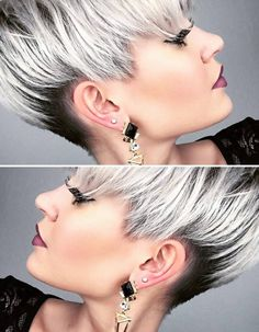 Modern short hairstyles These great hairstyles are very popular in Curious? Modern Short Hairstyles, Funky Hairstyles, Layered Hairstyles, Short Hair Cuts, Short Hair Styles, Pixie Cuts, Short Pixie, Grey Beards, Grey Wig