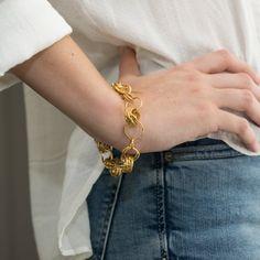 Gold link bracelet, Gold toggle bracelet, Statement Loop gold bracelet for women, Bridal bracelet, Fine solid gold Gold Bracelet For Women, Gold Link Bracelet, Unique Bracelets, Link Bracelets, Diamond Bracelets, Gold Jewelry, Women Jewelry, Jewellery, Gold Earrings