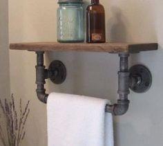 Powder room---Industrial pipe hand towel rack with wood by IndustrialHomeBazaar, $68.00, by jodie