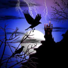 Raven's Haunted Castle Art Print