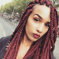 Box braids color red burgundy wine natural hair protective styles