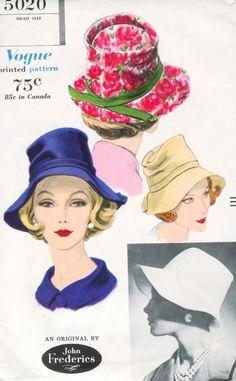 1960 CHIC  John Frederics Designer Hat Pattern VOGUE 5020 High Softly Draped Crown Wide Brim Hat Vintage Sewing Pattern UNCUT
