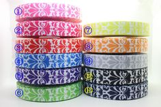 New 7/8'' Free Shipping damask 11 colors available Printed Grosgrain Ribbon Hairbow Diy Party Decoration Wholesale OEM 22mm H332-in Ribbons from Apparel  Accessories on Aliexpress.com $18.00