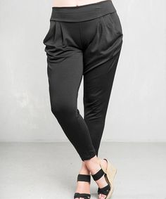 Loving this Black Pleated Pants - Plus on #zulily! #zulilyfinds