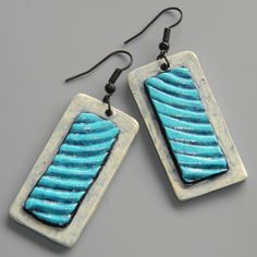 Earrings Distressed Polymer Clay Jewelry by ArtQwerksArtCirque
