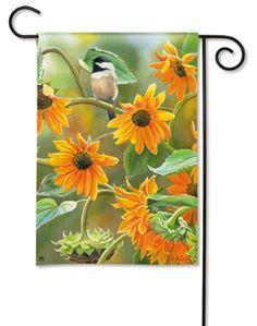 Sunflower Fields Chickadee Bird x Decorative Outdoor House Flag Sunflower House, Sunflower Fields, Wild Birds Unlimited, Yard Flags, Spring Birds, Nature Artists, Orange Background, Flag Decor, House Flags