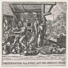 Emblemata saecularia - plate 32 De alchemist Paupertatem ali fugit, ast hic advocat ipsam L'un fuit la pauvrété, mais celui ci l'appelle. Amsterdam, Rijksmuseum