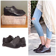 $235 BED STUD ROSE LEATHER OXFORD LOAFER SHOE GRAPHITO DIP DYE Black Free People | eBay