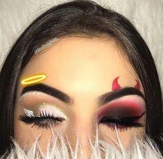 aesthetic makeup halloween Try the Two-Faced Halloween Look Thats Breaking the Internet, Make-up , Makeup Eye Looks, Cute Makeup, Beauty Makeup, Fancy Dress Makeup, Crazy Makeup, Funny Makeup, Awesome Makeup, Perfect Makeup, Gorgeous Makeup