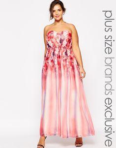 Image 1 ofLittle Mistress Plus Floral Printed Maxi Bandeau Dress
