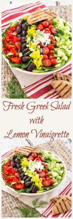 This Fresh Greek Salad with Lemon Vinaigrette has a ton of flavors and textures and it tastes nice and bright from the lemon vinaigrette. | HostessAtHeart.com via @HostessAtHeart
