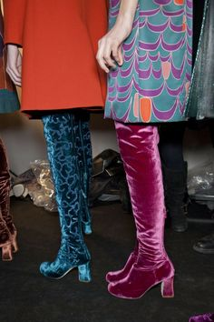 velvet boots - by the surrounds I'm thinking they're waiting at the catwalk.