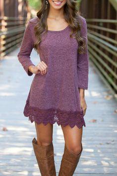 Chic Lace Paneled A-line Dress - OASAP.com