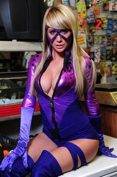 Sara Underwood as Bustice, an original superhero created for AOTS