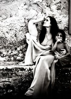 Angelina Jolie with Shiloh and Pax. Photographed by Brad Pitt.