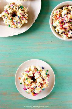 White Chocolate Funfetti Popcorn Doughnuts