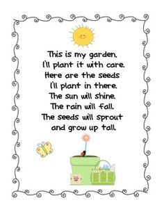 Week 2- Day 2: Plan poem you can use when planting the seed of the apples. Print it and put it next to the cups, when visiting them weekly or every three days, you can say the poem.