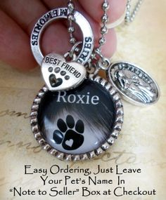 Custom Pet Memorial or I Love My Pet Necklace by LoveThosePendants, $16.00