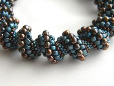 Bronze and Blue Japanese Seed Beads Cellini by delphistreasures