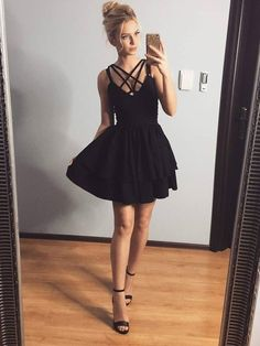 Short Black Homecoming Dress, Short Prom Dresses For Teens pst1638