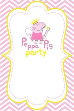 Amika is turning one Pig Birthday, Frozen Birthday Party, 4th Birthday Parties, Peppa Pig Invitations, Birthday Invitations, Invitacion Peppa Pig, Pig Cookies, Pig Crafts, Pig Party