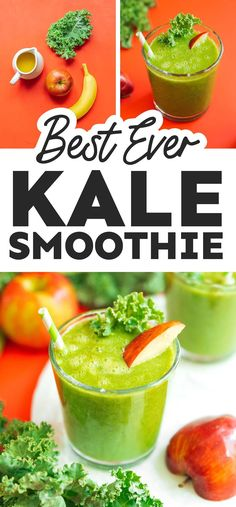 Sneak in your greens with a delicious and refreshing Apple Kale Smoothie. This tasty, icy drink is made with just an apple, some kale, a banana, and orange juice! It's a healthy snack or breakfast idea that's full of flavor and perfect for sneaking some vegetables into the family meal. Healthy Recipes On A Budget, Vegetarian Recipes Easy, Clean Eating Recipes, Budget Meals, Healthy Vegetarian Breakfast, Vegan Breakfast Recipes, Healthy Drinks, Healthy Snacks, Easy Smoothies