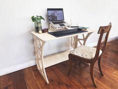 Flat Pack Workstation - Vinehall Displays - Work From Home Desks Worktop Designs, Wotton House, Crafty Fox, Home Desk, Work Tops, State Art, White Marble, Birch, Cnc