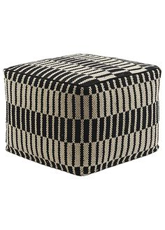 A tribal touch for modern decor, the National Geographic Home Collection's Antique White & Caviar pouf from Jaipur offers comfort with global flair. This cubic accent boasts an all-over striped scheme in cream and black, cozy with a cotton cover and ball Pouf Ottoman, Chair And Ottoman, Black Ottoman, Ottoman Ideas, Antique White Furniture, Black Furniture, Cream Furniture, Salons, Yurts