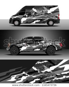 Car decal wrap, Truck and cargo van design vector. Graphic abstract stripe racing background kit designs for wrap vehicle, race car, rally, adventure and livery - buy this vector on Shutterstock & find other images. Camouflage, Vw Amarok, Van Design, Truck Decals, Cargo Van, Car Shop, Rally Car, Ford Trucks, Cars And Motorcycles