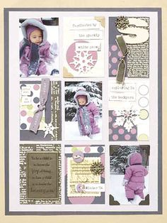 Cool Grid Winter Scrapbook Page - Maria had a bunch of winter shots she wanted to use on a page, but none of them really seemed to work as a focal point. By designing her layout on a grid, she could use several shots in a creative way. Other rectangles contain snowy embellishments, winter quotes, and journaling.