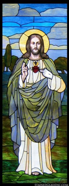 stained glass Sacred Heart