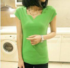 Hot Sale Promotion Women's V-neck Short Sleeve Women's T-Shirt Cotton Large Size 8 Colors Slim lady T-shirt Free Shipping 8152