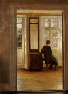 Carl Holsøe (1863-1935): Reading at the Window