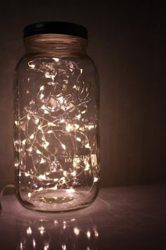 mason jar lights with LEDs! I know how you like yoru mason jars! Mason Jar Lighting, Mason Jar Lamp, Mason Jar With Lights, Hanging Mason Jar Lights, Gold Mason Jars, Wedding Bathroom, Deco Led, 50th Wedding Anniversary, Golden Anniversary