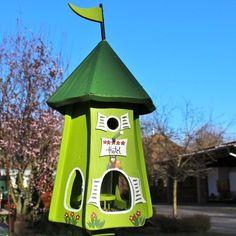 Vogelhaus XXL 62cm Typ Halloween aus Holz Vogelfutterhaus mit Nistkasten Ständer
