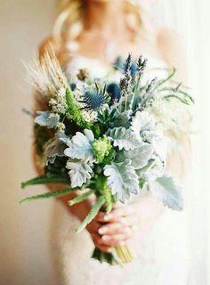 Green grey blue natural wedding flowers bouquet