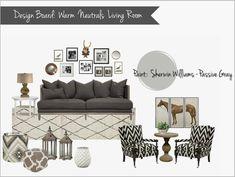 interior design mood board: warm neutral living room, gray, cream, brown, black