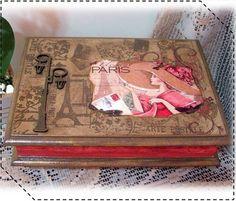 ---- Caixa MDF para bijoux com pintura e decoupage ----  Fazemos em outras cores e modelos. Peças integrantes estão sujeitas à disponibilidade. Como é um produto artesanal, podem haver pequenas diferenças entre uma produção e outra. R$ 55,95