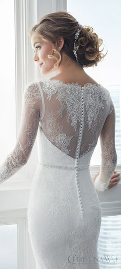 christina wu brides spring 2017 bridal illusion long sleeves illusion bateau neck sweetheart lace sheath wedding dress (15622) zbv sophisticated elegant