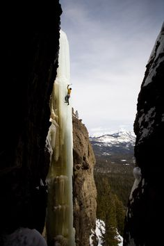 """Climbing: """"Rock and Ice"""" Insane! So what happens when the ice breaks away from the rock! Ice Climbing, Mountain Climbing, Mountain Hiking, Trekking, Ski, Kayak, Extreme Sports, Mountaineering, Bouldering"""
