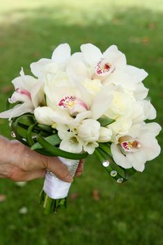 white bridal bouquet, white, orchids, tulips, freesia, lily grass