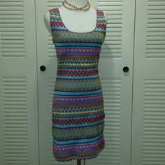 "Chelsea & Violet Zigzag Dress Bodycon  look with comfortable polyester spandex knit fit. Lined pull on style.  Multi color Print. Worn Once or twice. Armpit-armpit 16.5 "" Waist 13.5 ""  hips 16 "" Length 35 ""  Perfect  for spring summer wardrobe Chelsea & Violet Dresses"