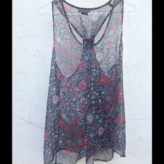 Sheer floral tank A pretty top to go over a tank or a bra, your choice. Its wonderful for any time of the year to spice up your closet! Fire Los Angeles Tops Tank Tops