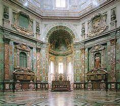 Chapel of the Princes, Basilica de San Lorenzo, Florence, Italy.  The walls are made of green and wine colored marble quarried in Florence.