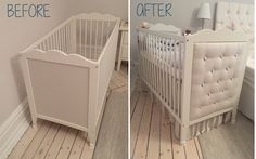A gorgeous, personalized nursery is just what you'll get with these IKEA nursery hacks. Find the best IKEA nursery hacks to make your baby's nursery unique! Ikea Baby Bed, Ikea Baby Room, Baby Crib Diy, Ikea Nursery, Baby Crib Bedding, Baby Bedroom, Baby Cribs, Tufted Crib, Room Baby