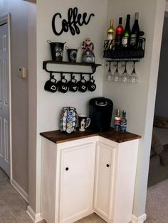 best DIY coffee station ideas for all coffee lovers - tiny space co . - best DIY coffee station ideas for all coffee lovers – tiny space corner coffee bar ba - Coffee Bar Home, Home Coffee Stations, Coffee Bar Ideas, Coffee Nook, Wine And Coffee Bar, Coffee Kitchen Decor, Coffee Bar Design, Coffee Bar Station, Coffee House Decor
