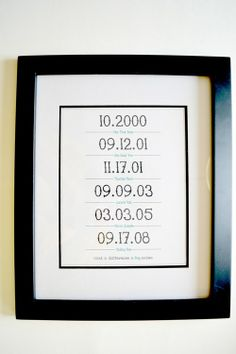 What a Difference a Day Makes--make a framed print with all of a couple's meaningful dates.
